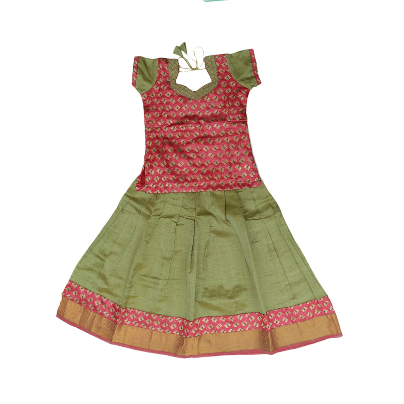 Silk cotton pavaadai Satai elachi green and pink with golden zari border (5 years)