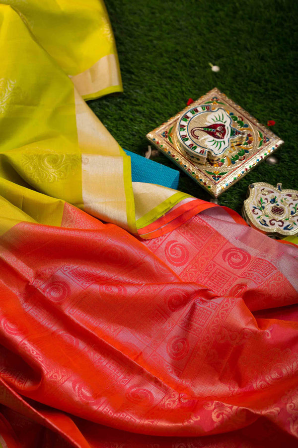 Soft silk Sarees Lime Green with gold and silver buttas and Peach with Zari Border for Rs.Rs. 7230.00 | Silk Sarees by Prashanti Sarees