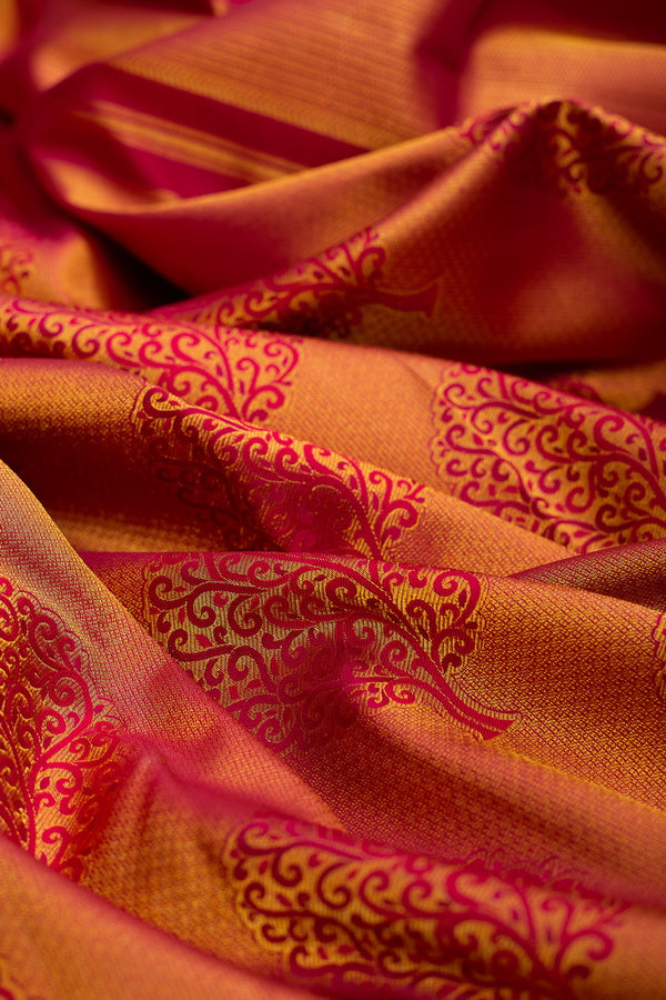 Pure Kanjivaram bridal silk saree with tree of life buttas and all over zari