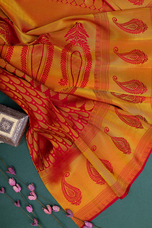 Pure Kanjivaram silk saree maroon with paisley border and golden tilak buttas