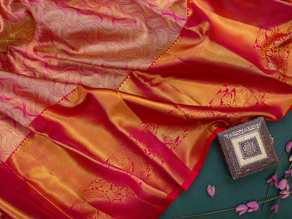 Pure Kanjivaram bridal silk saree gold and pink zari emboss and contrast pink border