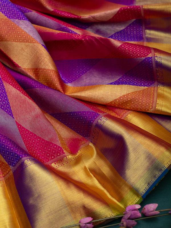 Pure Kanjivaram silk saree multi colour geometric pattern with contrast pall and bavanji border