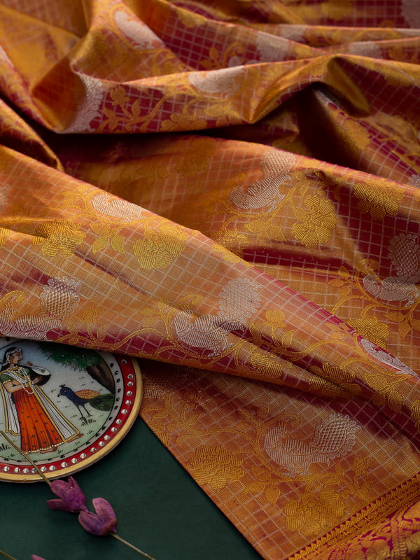 Pure Kanjivaram bridal silk saree full golden tissue with contrast pink long border