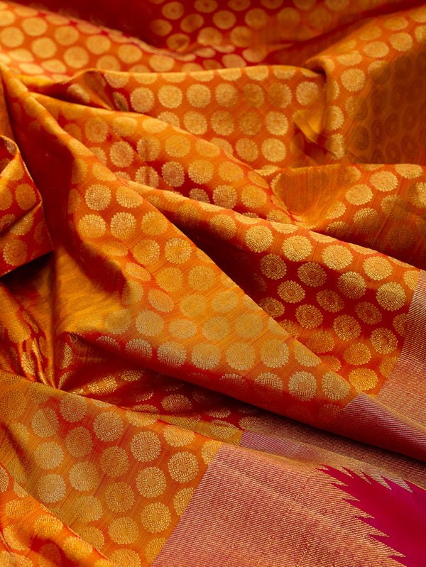 Pure Kanjivaram Silk Saree yellow with temple border and all over coin buttas