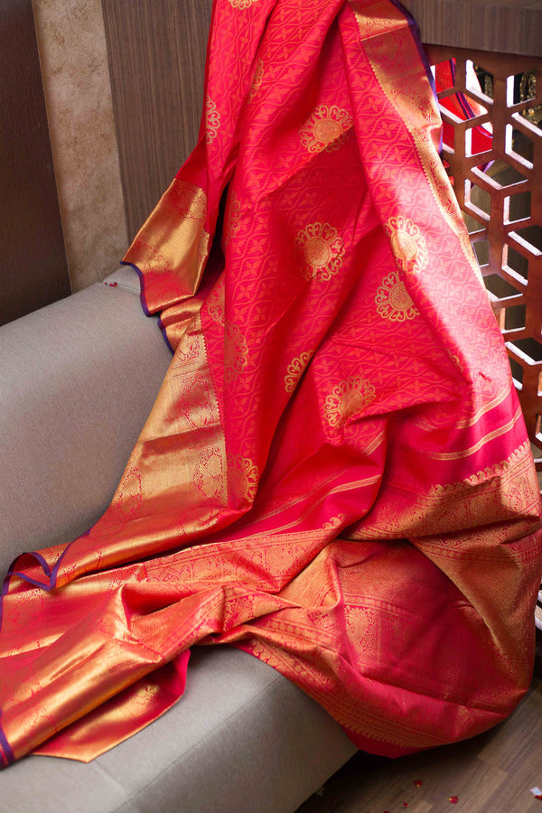 Kanjivaram Silk Saree Red with Flower buttas and Annam Zari Long Border