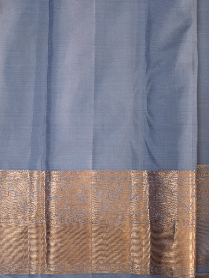 Pure Kanjivaram silk saree grey with floral tissue pattern all over the body