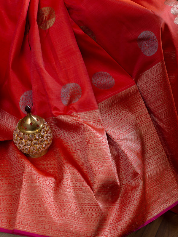 Pure Kanjivaram silk saree peach and pink with long silver zari border and coin buttas