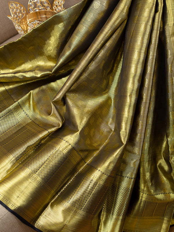 Pure Kanjivaram silk saree full gold tissue with black zari border