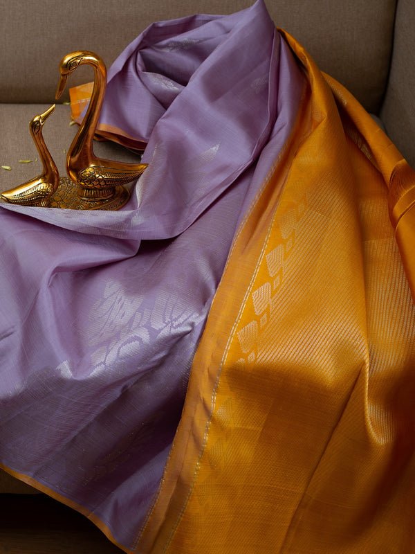 Pure Kanjivaram silk saree grey with silver floral buttas and contrast yellow blouse