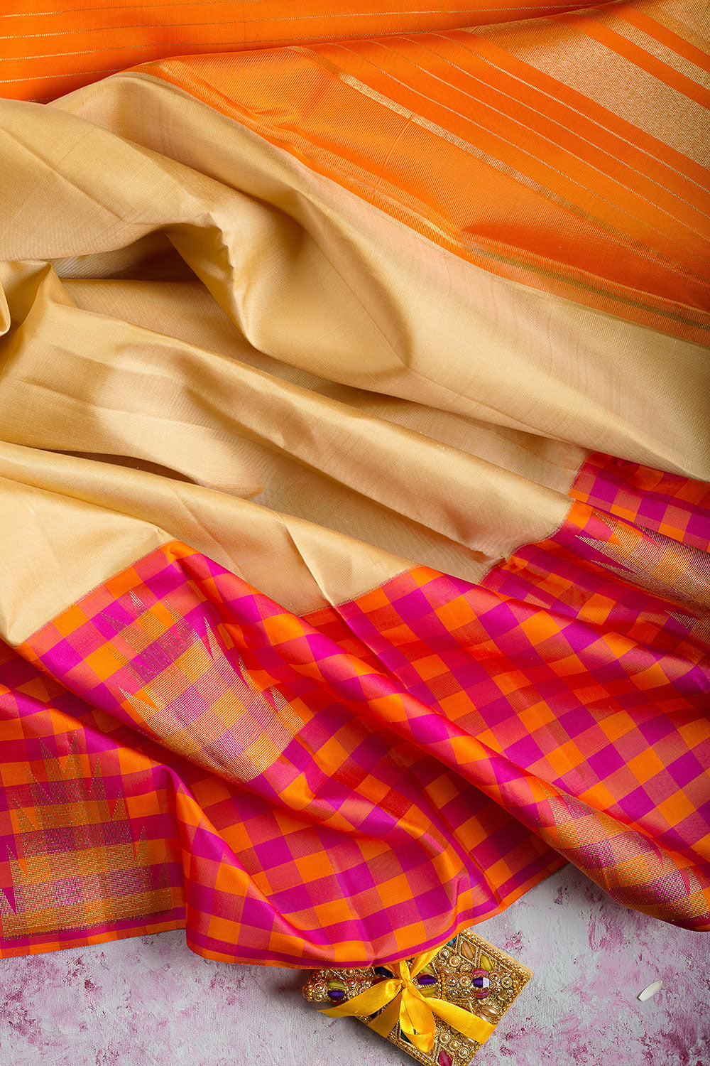 kanjivaram Silk Saree Beige and Small Checked Orange with Pink and Temple Zari border
