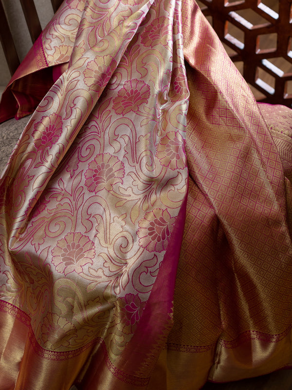 Pure Kanjivaram bridal silk saree full tissue with floral pink emboss and korvai getti zari border