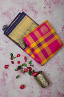 kanjivaram Silk Saree Small Checked Pink and Yellow with Butta and Annam Zari border