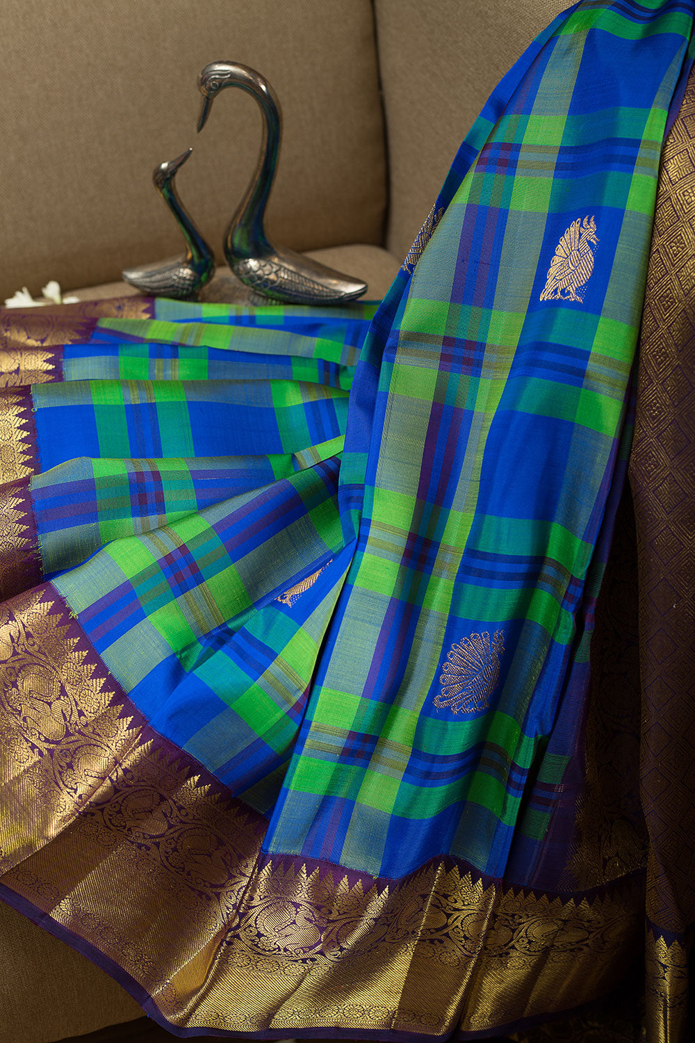 kanjivaram Silk Saree Green and Blue Checked with Butta and Annam Zari border