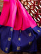 Kanjivaram silk saree pink with navy blue korvai border and annam zari buttas
