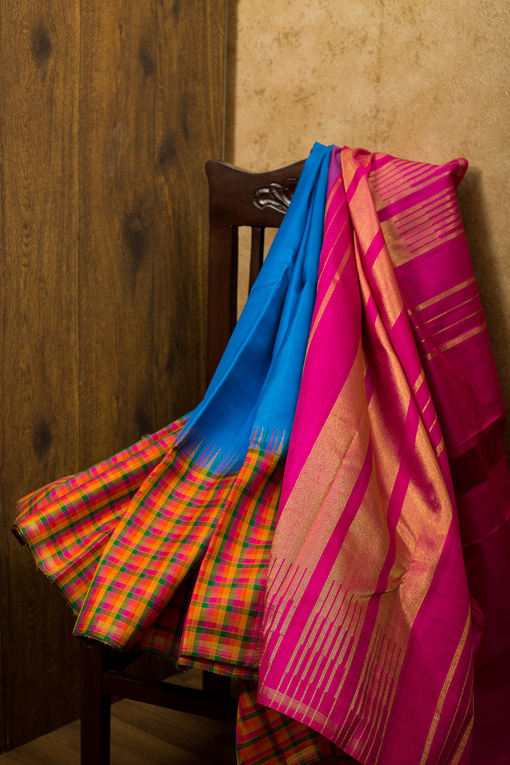 kanjivaram Silk Saree Sapphire Blue and Multicolor Checked Long border