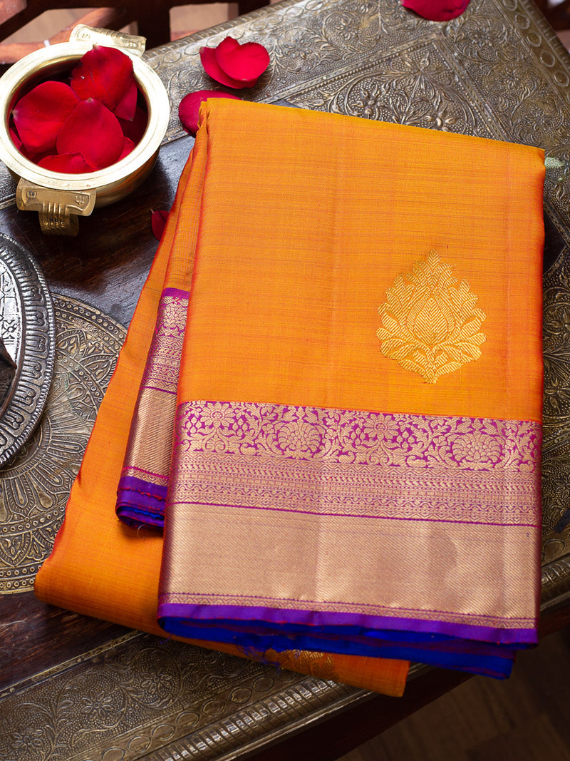 Kanjivaram silk saree yellow and purple with getti zari border and gold zari buttas