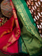 Kanjivaram silk saree pink with thread mango buttas and contrast green pallu