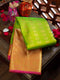 Pure Kanjivaram silk saree parrot green with pink long border with 1000 buttas