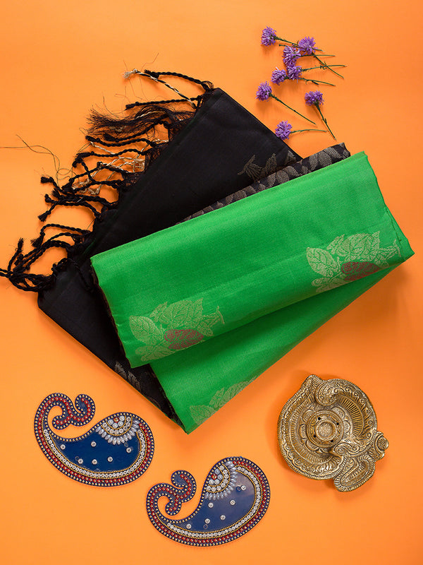 Soft Silk Saree Light Green with tree leaf buttas and zari Border