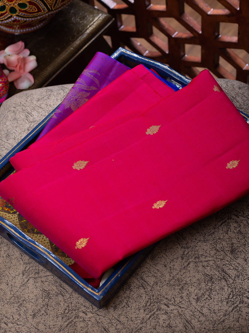 Pure Kanjivaram silk saree crimson red with violet floral border buttas
