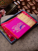 Pure Kanjivaram silk saree pink with gold and silver 1000 buttas