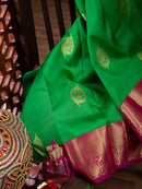 Pure Kanjivaram silk saree green with pink korvai getti zari border and zari buttas