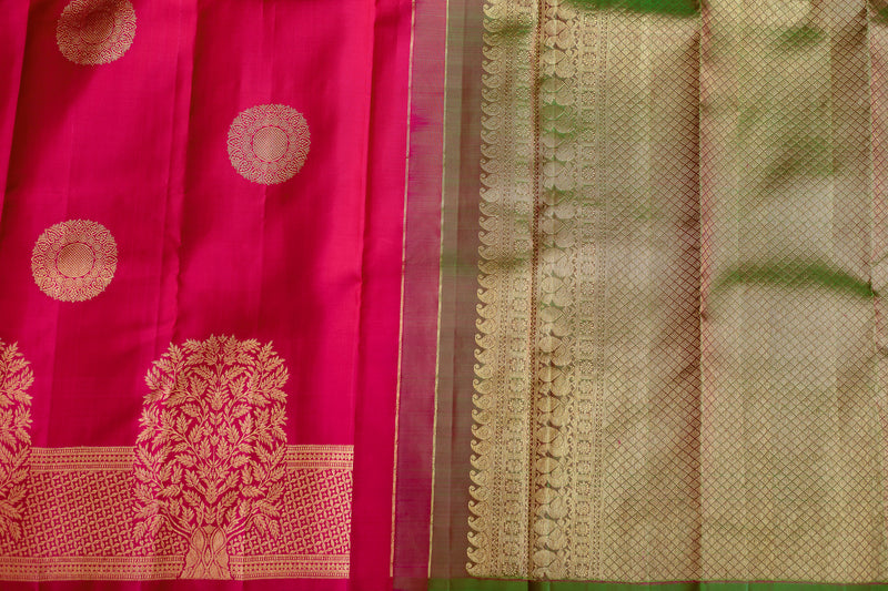 Pure Kanjivaram silk saree tomato pink self zari border and contrast green pallu