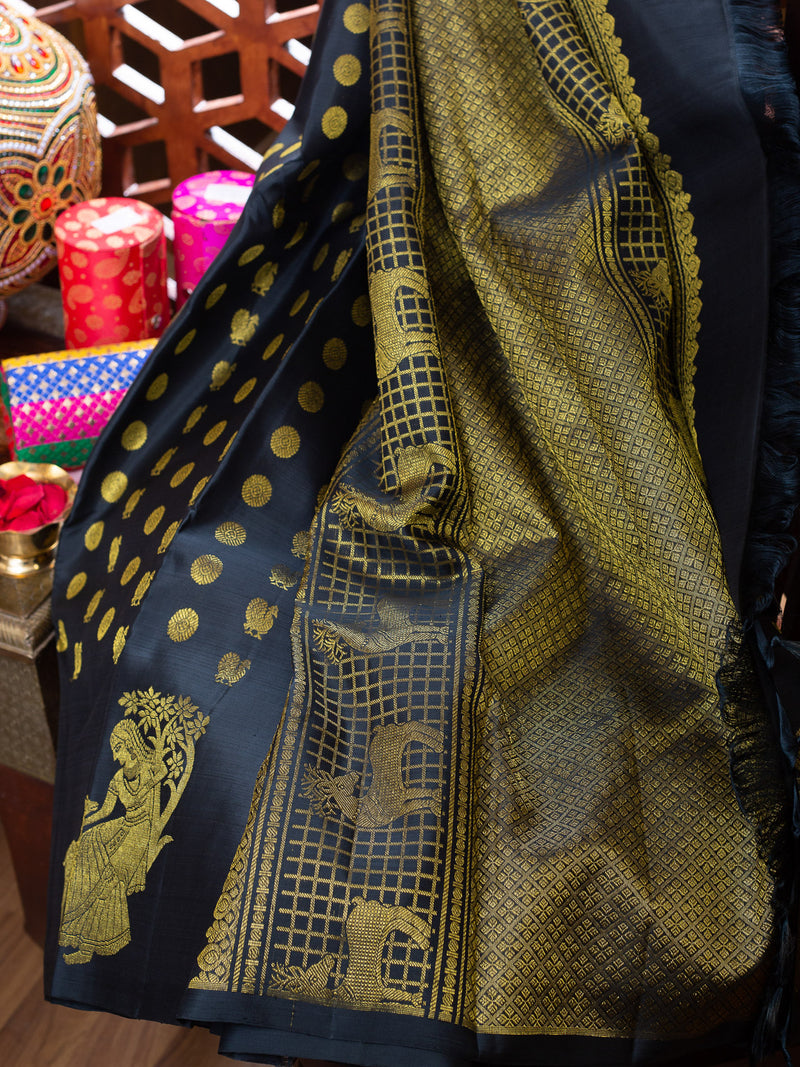 Kanjivaram silk saree black with 1000 buttas self colour