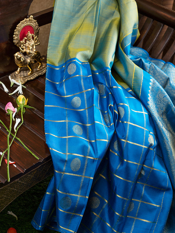 Kanjivaram Silk Sarees Half and Half Olive Green with Sky blue zari checks and Buttas Border