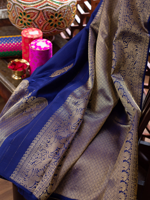 Pure Kanjivaram silk saree navy blue self long zari border