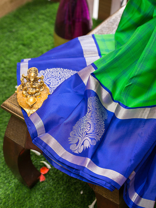 Kanjivaram Silk Sarees Parrot Green with Blue Checks and Blue with Mango Silver zari Border