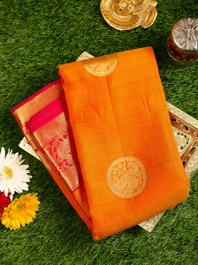 Pure Kanjivaram silk saree yellow with pink peacock and elephant zari border and butta