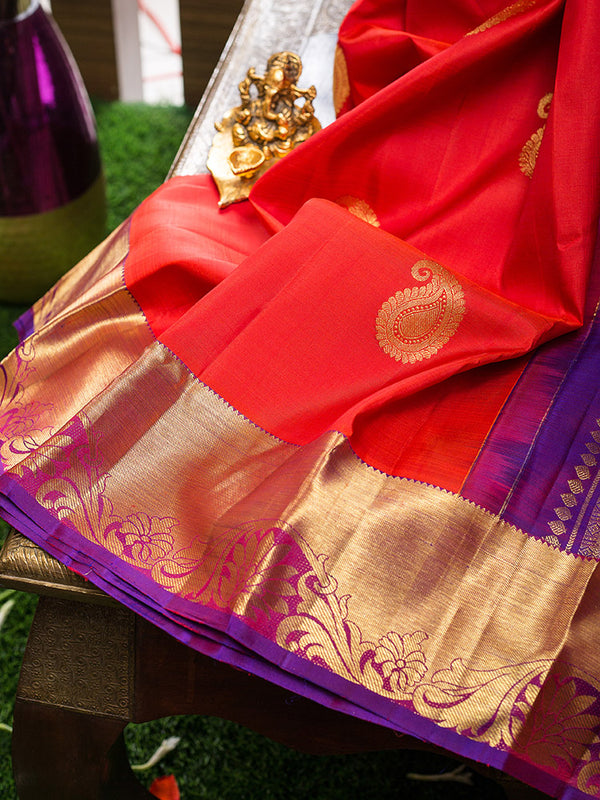 Kanjivaram Silk Sarees Red with Mango Buttas and violet with Floral Zari border