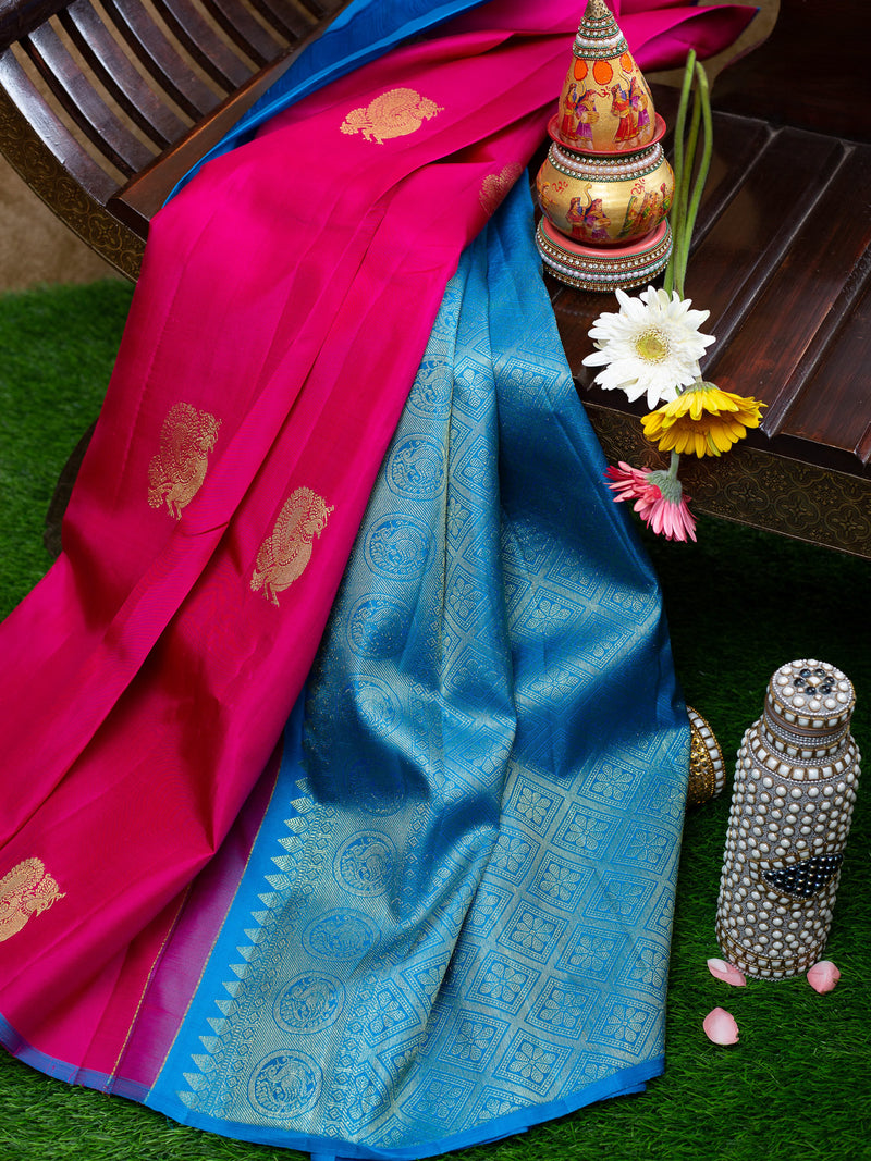 Pure Kanjivaram silk saree pink with blue borderless annam zari buttas