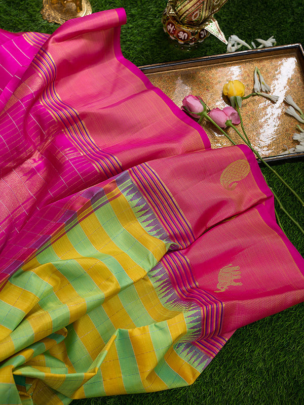Kanjivaram Silk Sarees Yellow and mint Green with Checks and Pink with Mango and elephant Zari border