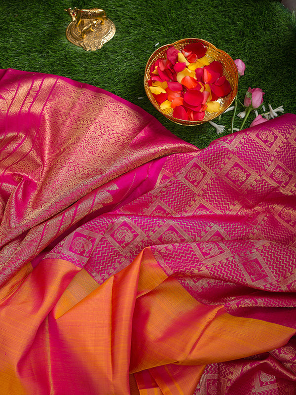 Kanjivaram Silk Sarees Half and half Dual shade Of Honey color and Pink with Annam Zari border