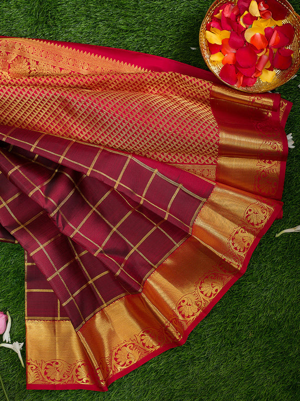 Kanjivaram Silk Sarees Dark maroon with Zari checks and Red with Floral zari Border