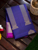 Pure Kanjivaram silk cotton saree navy blue with magenfa antique style pillar zari border