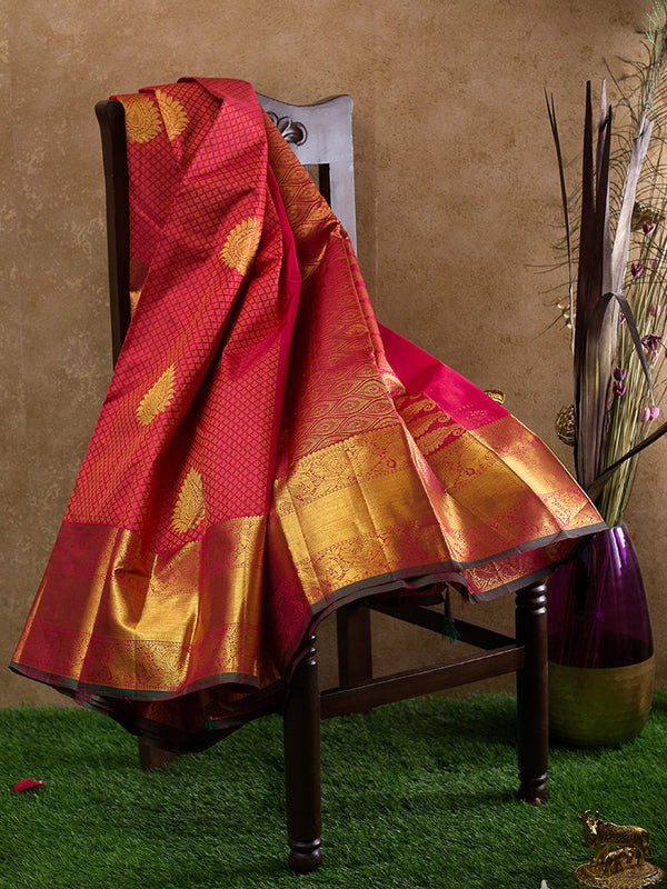 Kanjivaram Silk Sarees Red Embossed with buttas and Annam with elephant zari border