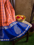 Kanjivaram Silk Sarees Peach with Blue Checks and Blue with Mango silver border