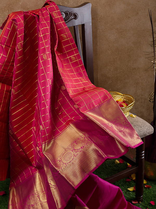 Kanjivaram Silk Sarees Dual shade of Pink with Zari checks and Pink with Annam And Mandala Zari Border