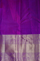 Pure Kanjivaram silk saree navy blue with pink zari checks and long zari border