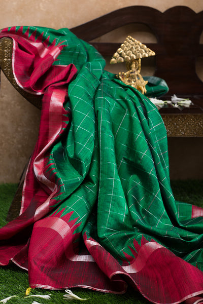 Jute Silk Saree Dark Green and Red with Temple and Zari border