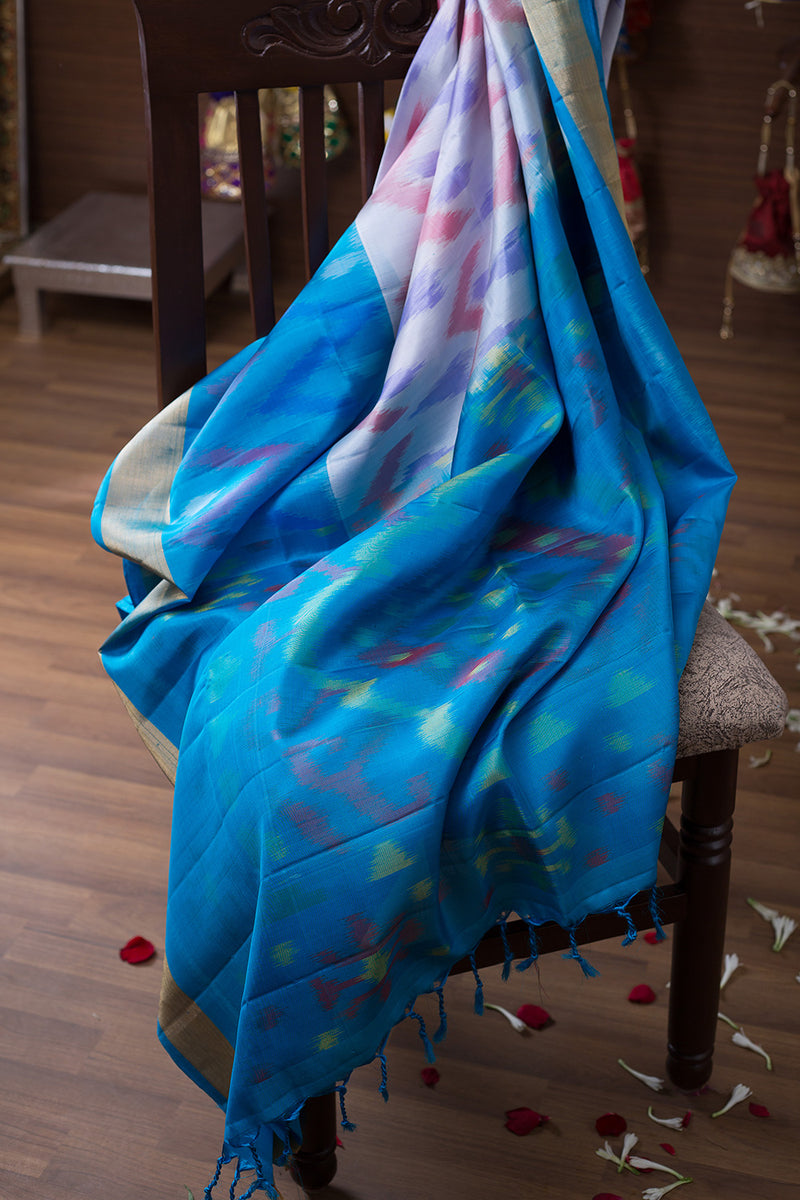 Pure Silk Saree White and Sky Blue with Ikkat Design and SImple zari border