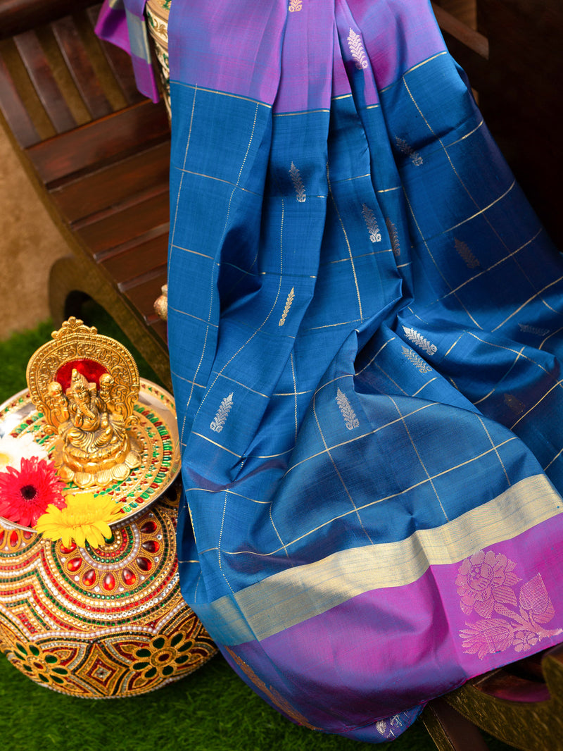 Pure Kanjivaram silk saree peacock blue with mangenta zari check butta