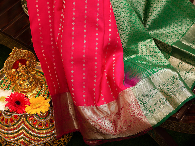 Pure Kanjivaram silk saree pink with silver zari 1000 buttas and contrast green blouse