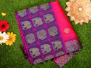 Kuppadam silk cotton saree pink with navy blue with long border