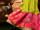 Kuppadam silk cotton saree parrot green with pink long border
