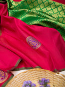 Kanjivaram silk Saree Crimson Red with annam Thread buttas