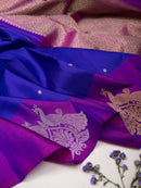 Kanjivaram Silk Saree Blue with Buttas and Violet with Peacock zari Border